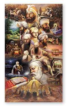 This remarkable artwork captures all the Sikh Gurus and many of the historic events that have occurred throughout Sikhi. Painted by Raman Singh, painter of expression and soul, it brings a beautiful and elegant artistic painting style that capture. Guru Nanak Photo, Guru Nanak Wallpaper, Guru Pics, Warriors Wallpaper, Guru Gobind Singh, Religious Photos, Lord Shiva Hd Wallpaper, Free Canvas, Wallpaper Backgrounds