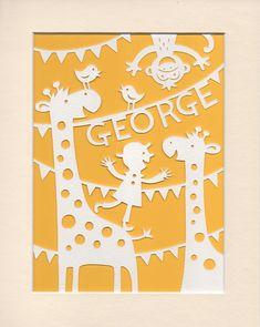Nursery Art Personalised Jolly Giraffes by GeraldHawksley on Etsy