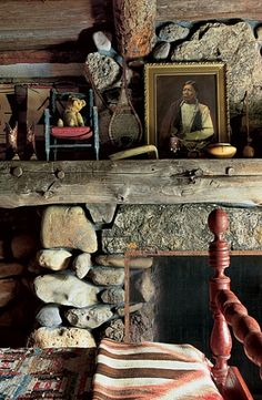 Stone Fireplace in a Log Cabin