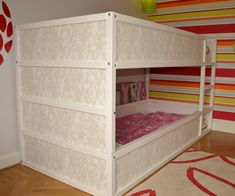 Girly Kura bunk bed - IKEA Hackers don't forget to use a proper base for the bottom bunk (an extra $9 for the additional slatted board).
