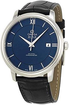 Beautiful Omega Men's 42413402003001 De Ville Blue Watch Mens Watches. [$2451.71] usclotrend from top store Mens Watches Leather, Leather Men, Black Leather, Vintage Watches For Men, Luxury Watches For Men, Omega Shop, Tourbillon, Breitling Watches, Fashion Watches