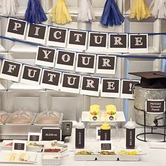 Graduation Party - Picture Your Future banner. Print all twelve school pics in this Polaroid style & place above the banner. Cute!