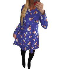 Printed Cute Kawaii O-neck Long Sleeve Knee- Length Party Dress