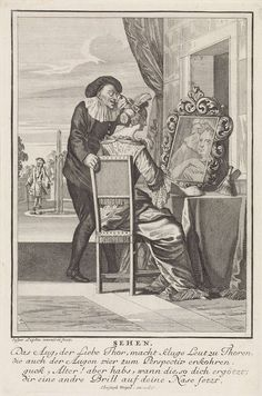 Caspar Luyken | Zicht, Caspar Luyken, Anonymous, Christoph Weigel, 1698 - 1702 | Op de voorgrond kijken een gezeten vrouw en een oudere man met een bril in een spiegel. Op de achtergrond kijkt een rijkgeklede heer in het water van een fontein. De prent heeft een Duits onderschrift van vier regels over het zintuig zicht.
