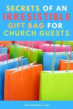 Secrets of an Irresistible Gift Bag for Church Guests Church Ministry, Ministry Ideas, Church Welcome Center, Church Foyer, Church Fellowship, Church Outreach, Kids Church, Church Ideas, Welcome Packet