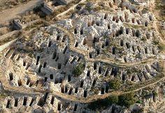 The necropolis of Tuvixeddu is the biggest extant Phoenician-Punic necropolis. Archaelogical Park, Cagliari, Sardinia Italy
