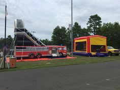 18' Fire Truck Dry Slide and Standard Bounce House