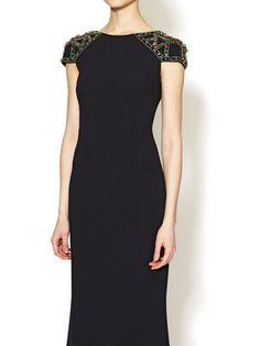 Jeweled Cap Sleeve Crepe Gown by Badgley Mischka Collection at Gilt