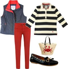 """""""Autumn by the seaside"""" - nautical striped top, navy blue quilted gilet, red skinny jeans, boat shoes, straw bag with crab"""