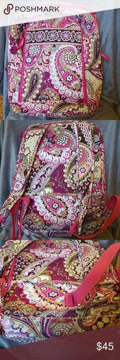 Vera Bradley Backpack Very cute, gently used VB backpack.  Is a full size backpack with a separate zipper compartment for your laptop, that is cushioned.  Bag has an outside zipper compartment and a large middle section for books, etc.  Some wear on the bottom, tried to show in 3rd photo. Vera Bradley Bags