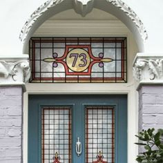 Etched Glass Style Fanlight Transom House Numbers for ...