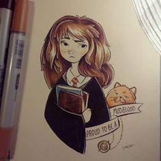 #inktober day #8 full color #hermione! ✨ #inktober2015 #inktober2go #harrypotter #hermionegranger #magic #ink #copic #books #mudblood #artistoninstagram #art #illustration #timeturner #cat