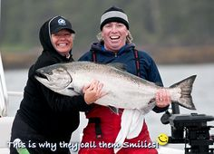 This is why they call them Smilies! Big Chinook salmon - big smiles, Naden Harbour, BC