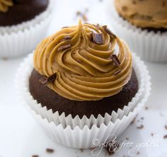 Gluten free chocolate cupcake recipe with coffee flavored icing - these look so good!