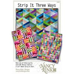 Create 3 new quilts with 1 pattern! With 3 patterns in Strip It Three Ways will keep you busy! Each pattern uses 2 Jelly Rolls in your favorite colors! You can choose from 3 designs: Prism, which is formed from pieced triangle shapes; Jellyroll Quilts, Scrappy Quilts, Easy Quilts, Quilting Tutorials, Quilting Projects, Quilting Designs, Jelly Roll Quilt Patterns, Modern Quilt Patterns, Sewing Patterns