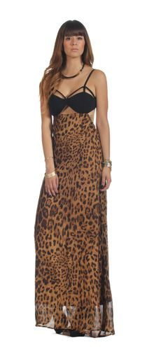 Leopard Cutout Bustier Maxi Skirt Dress