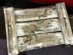 Pallet tray. Love the distressed look.  Good look for the store