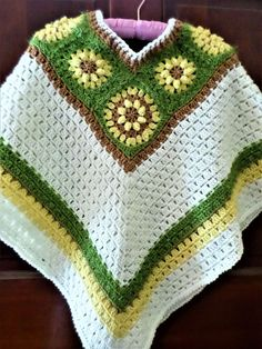 HAND CROCHETED SUNFLOWER PONCHO - 1 SIZE FITS MOST SMALL TO XL - MULTICOLOR #Handmade #VNeck