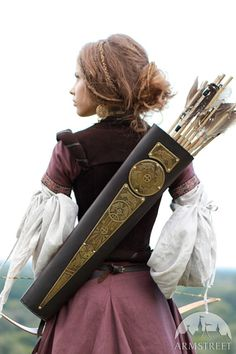 Archery Quiver Leather Bowman Archeress series etched di armstreet, $130.00