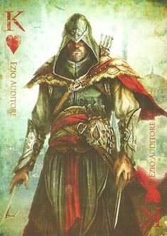 Ezio Auditore da Firenze (*K* Card) ~ Assassin's Creed: Revleations Printable Playing Cards, Playing Cards Art, Vintage Playing Cards, Tarot, Poker, Deck Of Cards, Card Deck, Cartomancy, Magic Cards