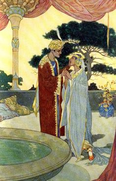Noureddin and the Fair Persian - The Arabian Nights published by Blackie & Sons Limited (London) in 1930 René Bull Art And Illustration, Illustrations And Posters, Bagdad, Fairytale Art, Arabian Nights, Aladdin, Art History, Mythology, Illustrators