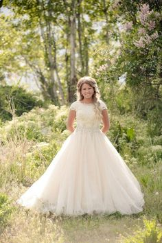 2015 Lace Modest Wedding Dress With Illusion Scoop Neckline And Cap Sleeves Beaded Crystal Tulle A-line Wedding Gowns Covered Buttons Back, $164.66 | DHgate.com