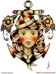Tattoo - Sailor Jerry style - Women - Anchor - Flowers - Marin - Color - Traditional