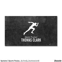 Sprinter | Sports Trainer (slate) Standard Business Card #sportscoach #strengthtrainer #businesscard #personaltrainer #fitness #health