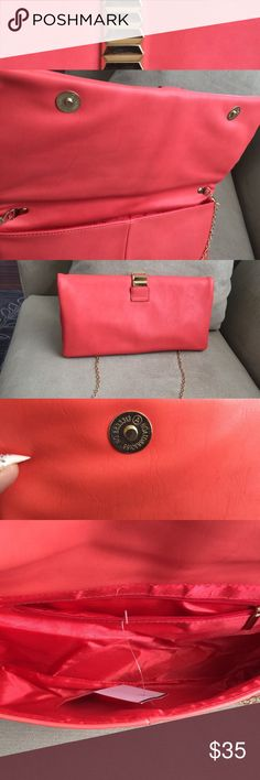 M. Fredric night bag with gold chain.size 12x6 Gorgeous Orange night bag Brand New with a Tag. M. Fredric Bags Mini Bags