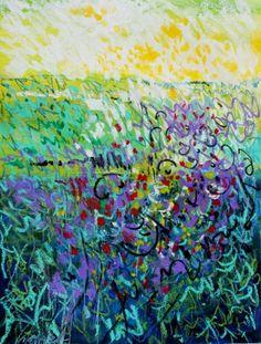 oil pastel art | Spring Field, oil pastel painting by Carol Engles, original painting ...