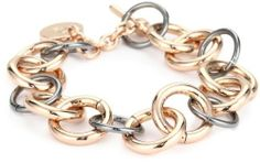 1AR by UnoAerre 18k Rose Gold Plated Link Bracelet 1AR by UnoAerre. $150.00. Special technology futher protects each piece from color fading. Clean with soft dry chemical free cloth only. Products are manufactured by Italy's renown gold craftsmen. Made in Italy. 18KT Rose Gold plated long link bracelet with grey metallic links