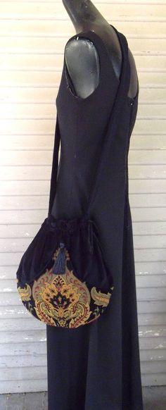 Black Velvet Tapestry Pocket Boho Bag от piperscrossing на Etsy