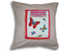 Hand made embroidered butterfly cushions by Jillygriffindesigns