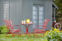 Add a pop of color to your patio with this gorgeous bistro set.