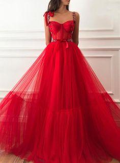 Detalles-color rojo cereza vestido-tela de tul con puntos-rojo hecho a mano flores bordado detalles-forma de una línea con la definición de la cintura-noche y vestido de fiesta Prom Dresses With Pockets, A Line Prom Dresses, Tulle Prom Dress, Ball Dresses, Red Gown Prom, Dresses Dresses, Long Dresses, Wedding Dresses, Summer Dresses