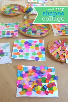 A really easy and effective way to learn about shapes, combining art and math to make a shape collage. Good STEAM lesson plan for young children. Shape Collage, Shape Art, Process Art, Kid Parties, Summer Art, Geometric Art, Kid Art, Art For Kids, Tissue Paper