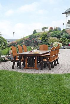 Amish Patio Poly Wood Trestle Dining Table Leisure Lawns Collection Our handcraftedAmish Patio Poly Wood Trestle Dining Table is constructed of highly durable environmentally friendly pol Outdoor Dining Set, Outdoor Living, Outdoor Furniture Sets, Patio Dining, Outdoor Decor, Dining Sets, Amish Furniture, Lounge Furniture, Outdoor Lounge