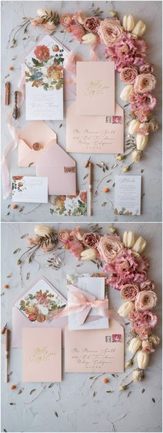 vintage peach & blush wedding invitations & floral arrangements | organic wedding style | more bridal inspiration @danellesbridal danellesboutique.com