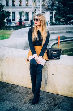 The A line skirt - Pink WishPink Wish Black Purses, Oversized Sunglasses, Sheer Blouse, Cropped Sweater, I Fall In Love, Get The Look, Over The Knee Boots, A Line Skirts, Stylish