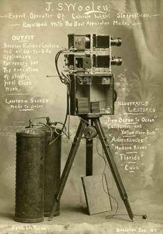 J. S. Wooley's Lantern Slide Projector,  Cabinet card ca 1905 © vintagephoto.com 2011