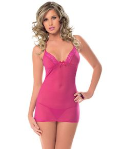 Halter Tie Chemise w/Tie Open Back & String Racy Pink O/S