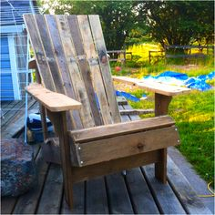I made an Adirondack Chair out of 2 pallets. This is a rough dry fit to make sure it was what i wanted. Ill be taking this one apart to use as a template for the next 3 im planning on making. Pretty cool project i got off instructables http://www.instructables.com/id/Pallet-Adirondack-Chair/
