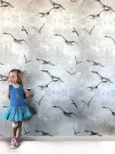 Flight chalk Stone Wall Wallpaper with flying bird design