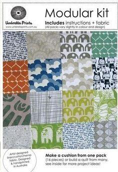 Umbrella prints hand-printed fabric kit