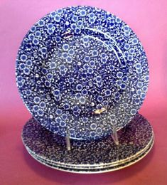 Calico By Churchill - 4 Dinner Plates - Blue And White Transferware - England
