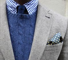 Crew Neck Knit and Suit - Shirt and Pocket Square Pattern Contrast, Knit Texture Contrast