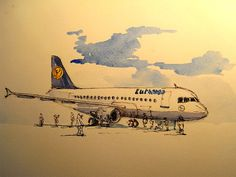 "Airplane plane lufthansa boeing blue sky airport berlin 12x9"" 32x24 cm art original Watercolor painting by Juan bosco"