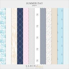Summer Day Digital Scrapbook Papers - Sahin Designs