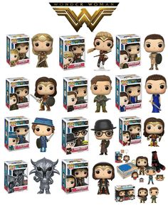 Wonder woman characters from the movie as funko pop dolls Funko Pop Dolls, Funko Pop Figures, Vinyl Figures, Pop Characters, Female Characters, Funk Pop, Wonder Woman Movie, Pop Toys, Pop Collection