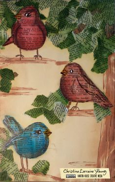 Bargain Birdies #artjournal page by christinalorraineyoung.com